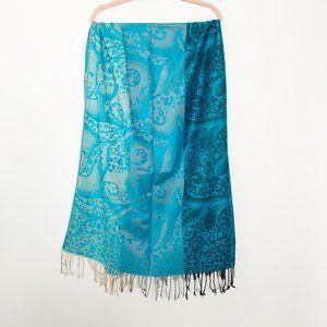 Pashmina Fringed Scarf Paisley Print  Blue